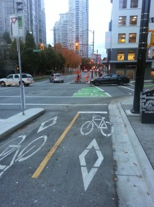 separated bike lane off Cambie Bridge